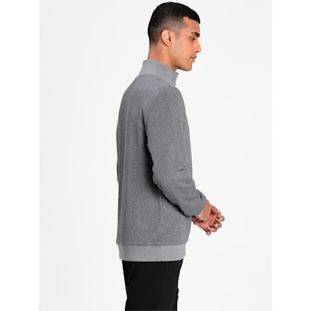 Reversible Men's Sweat Jacket, Medium Gray Heather-Forest, small-IND