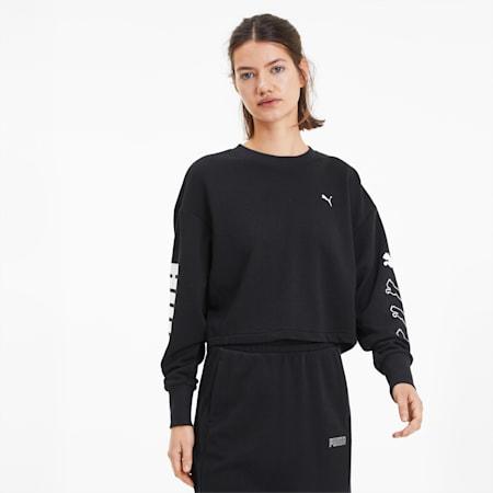 Rebel Women's Training Crewneck Sweatshirt, Puma Black, small