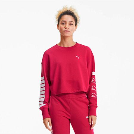 Rebel Women's Training Crewneck Sweatshirt, BRIGHT ROSE, small
