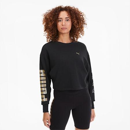 Rebel Crew Training Women's Sweatshirt, Puma Black-Gold-Silver, small-SEA