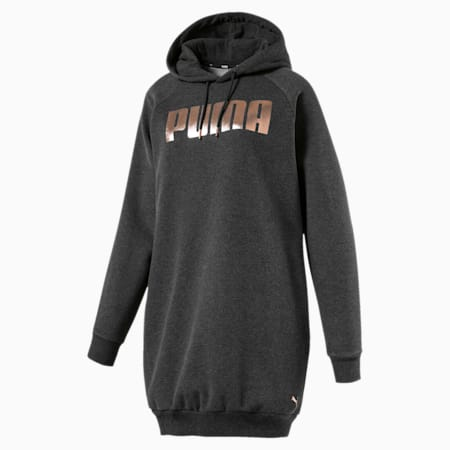 Holiday Pack Graphic Hooded Women's Sweat Dress, Dark Gray Heather, small-IND