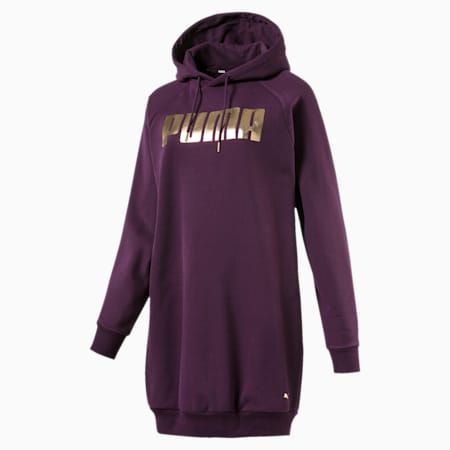 Holiday Pack Graphic Hooded Women's Sweat Dress, Plum Purple, small-IND
