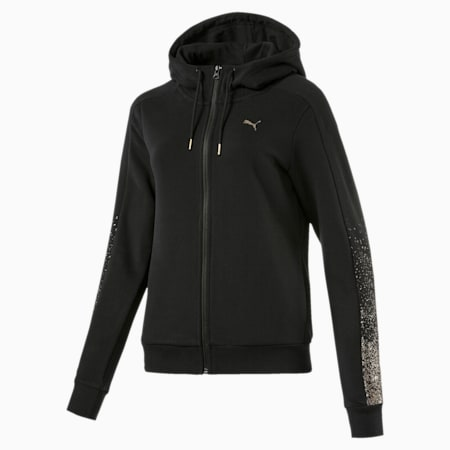 Holiday Pack Full Zip Women's Training Hoodie, Cotton Black, small-IND