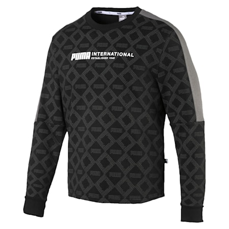 Logo Pack Graphic Long Sleeve Men's Pullover, Cotton Black-AOP, small-IND