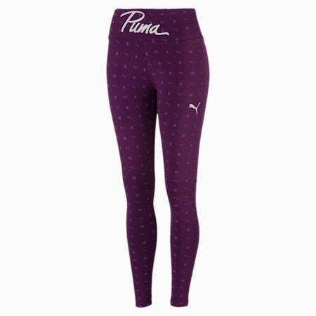Pack Graphic Women's Leggings, Plum Purple-AOP, small-IND