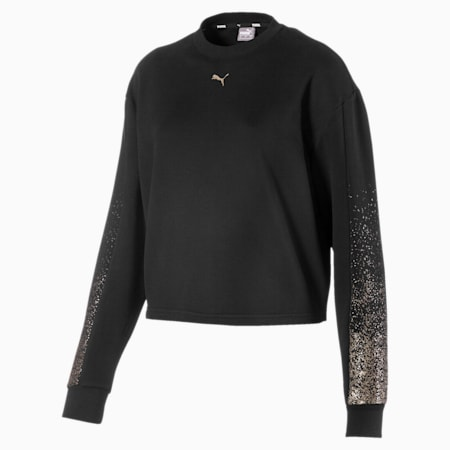 Holiday Pack Graphic Long Sleeve Women's Pullover, Cotton Black, small-IND