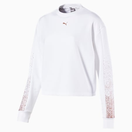 Holiday Pack Graphic Long Sleeve Women's Pullover, Puma White, small-IND