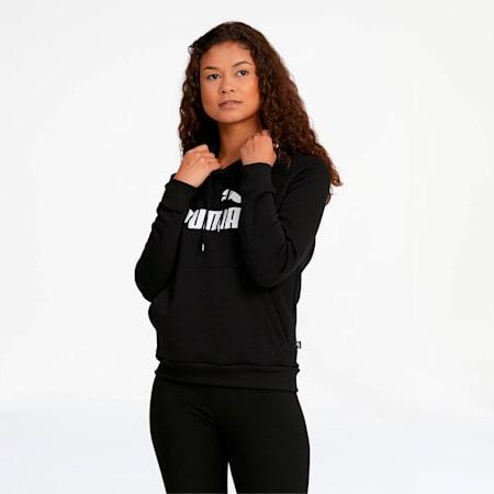 ESS Logo Women's Fleece Hoodie, Cotton Black, small