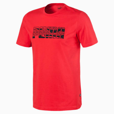 PUMA Brand Men's Graphic Tee, High Risk Red, small
