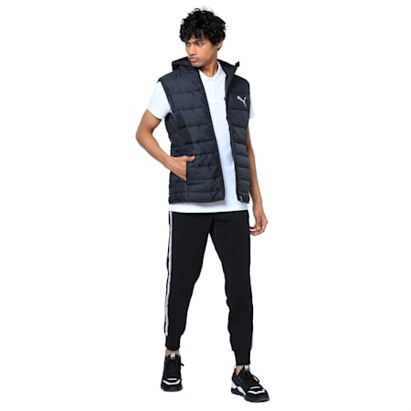 Ultralight Sleeveless Hooded Men's Vest, Puma Black, small-IND