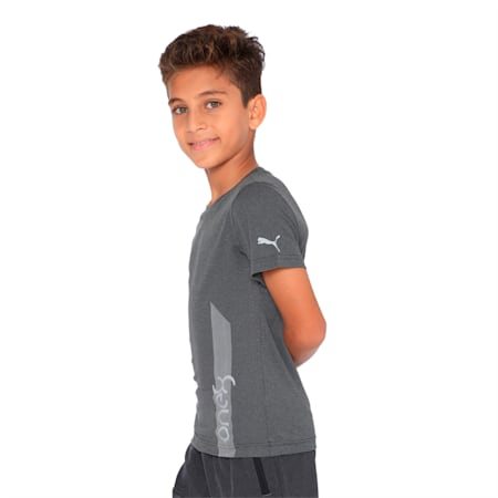 one8 VK Kids' Printed Active Tee, Dark Gray Heather, small-IND