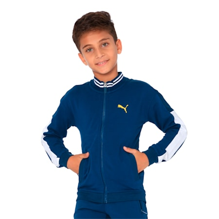 one8 X Virat Kohli Kids' Knitted Sweat Jacket, Gibraltar Sea, small-IND