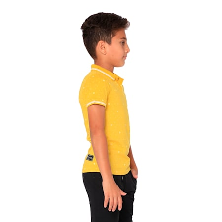 one8 VK AOP Kids' Printed Polo, Sulphur, small-IND