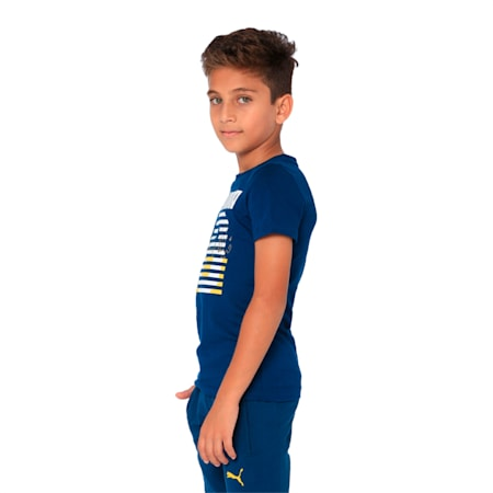 one8 VK Kids' Graphic Printed Tee, Gibraltar Sea, small-IND