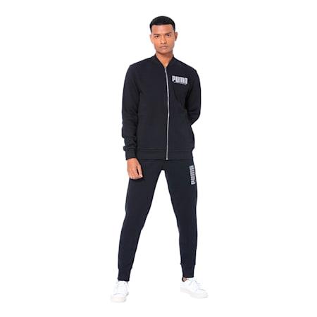 Long Sleeve Men's Sweat Jacket, Cotton Black, small-IND