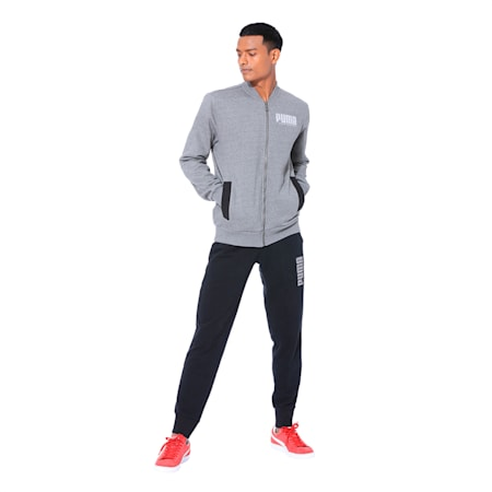 Long Sleeve Men's Sweat Jacket, Medium Gray Heather, small-IND