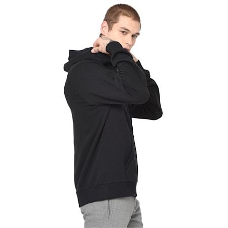 Athletics Fleece Zip-Up Men's Hoodie, Cotton Black, small-IND