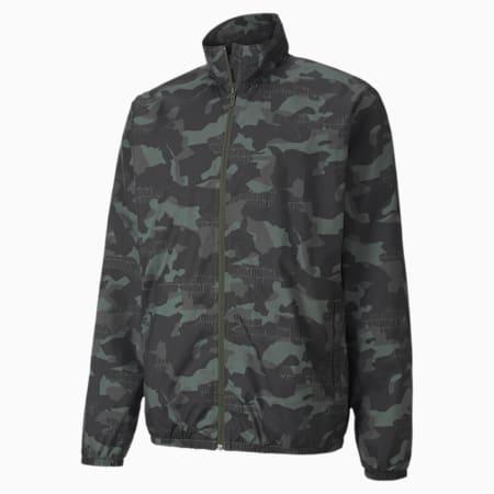 Essentials Printed Men's Windbreaker Jacket, Forest Night, small-IND