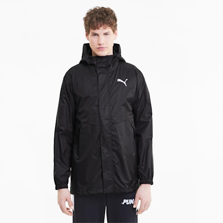 Hooded Men's Rain Jacket, Puma Black, small