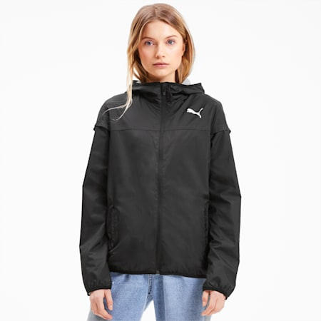 Essentials Hooded Women's Windbreaker, Puma Black, small-SEA