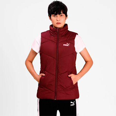 ESS Padded Water Repellent Women's Gilet, Burgundy, small-IND