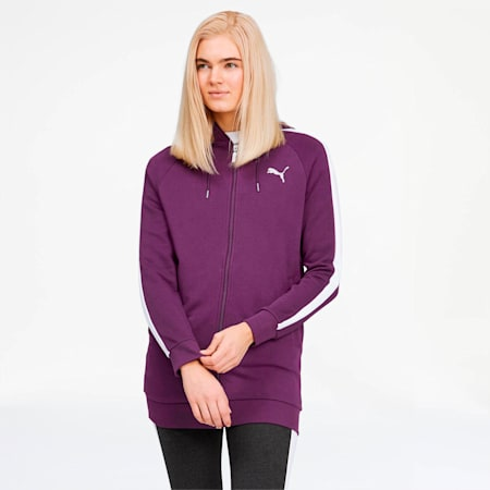 Glitz Women's Full Zip Hoodie, Plum Purple-Puma White, small
