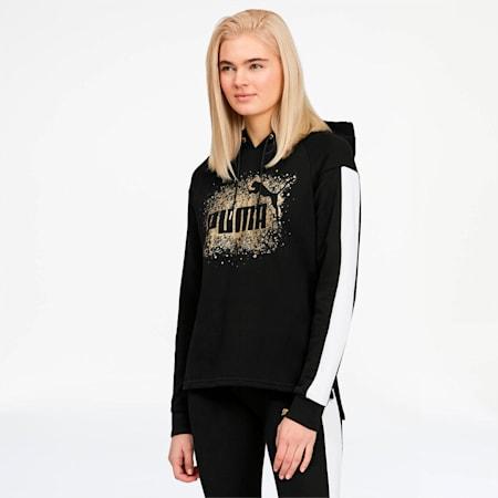 Glitz Women's Hoodie, Puma Black-Puma White-Gold, small