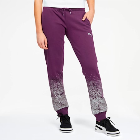 Glitz Women's Sweatpants, Plum Purple-Puma White, small
