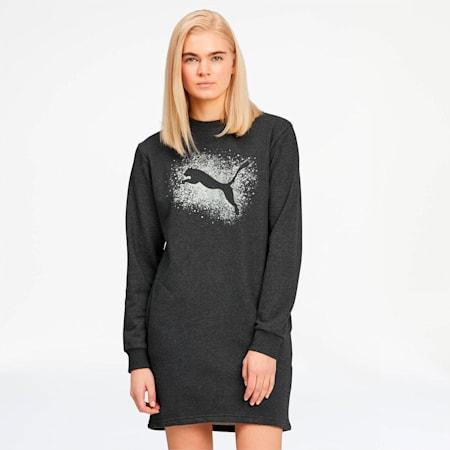 Glitz Women's Sweat Dress, Dark Gray Heather-Silver, small