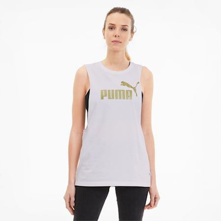 Essentials+ Metallic Women's Cut Off Tank, Puma White-Gold, small