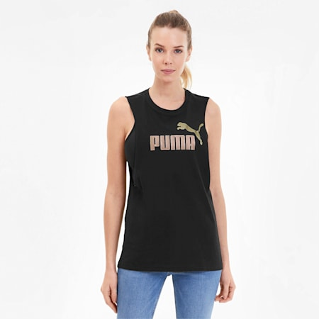 Essentials+ Metallic Women's Cut Off Tank, Puma Black-Rose Gold, small