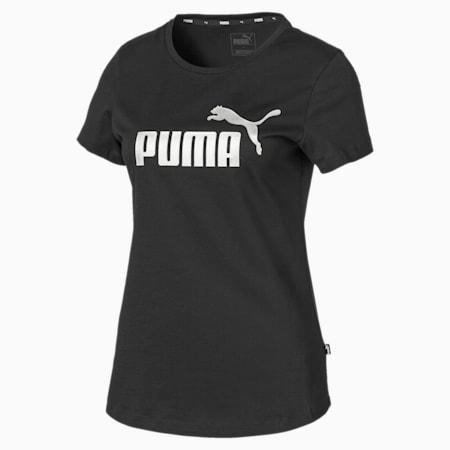 Essentials+ Metallic Women's Tee, Puma Black-Silver, small-SEA