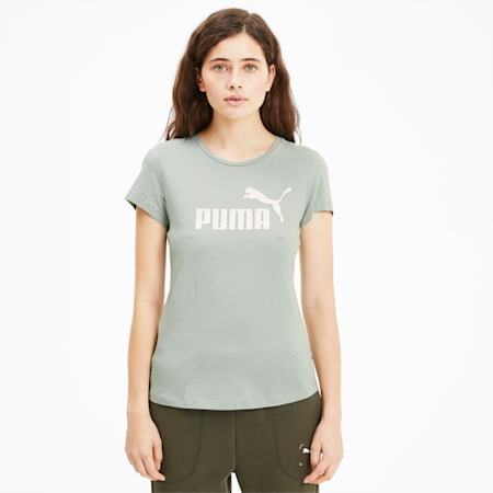 Essentials+ Metallic Damen T-Shirt, Aqua Gray, small