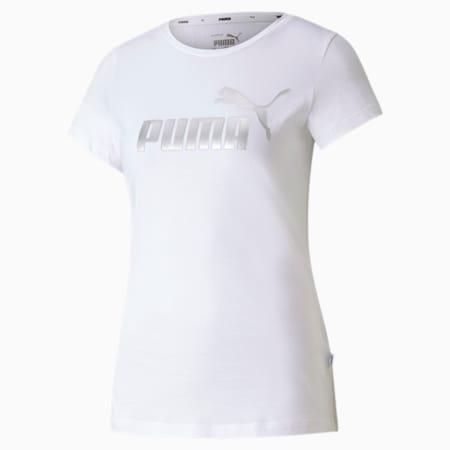 Essentials+ Metallic Women's Tee, Puma White-Silver, small