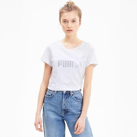 Essentials+ Metallic Damen T-Shirt, Puma White-Silver, small
