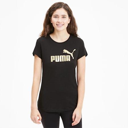 Essentials+ Metallic T-shirt voor dames, Puma Black-Gold, small