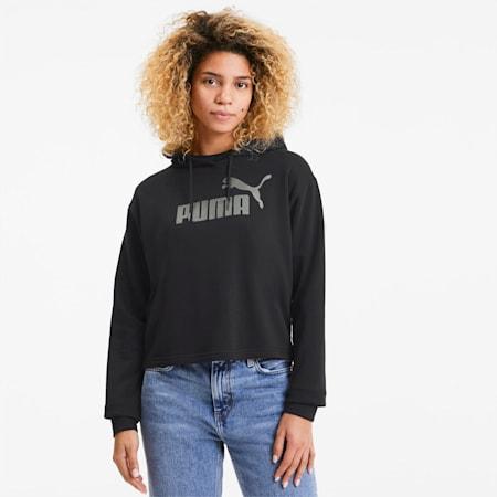 Damska bluza z kapturem Essentials+ Metallic, Puma Black-Silver, small