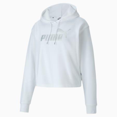 Essentials+ Metallic Women's Hoodie, Puma White-Silver, small-IND