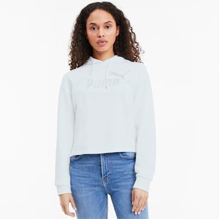 Essentials+ Metallic Damen Hoodie, Puma White-Silver, small