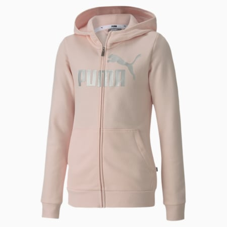 Essentials+ Hooded Girls' Sweat Jacket, Rosewater, small