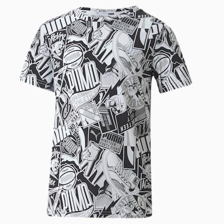 キッズ ALPHA AOP Tシャツ 半袖 120-160cm, Puma Black, small-JPN