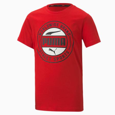 キッズ ALPHA サマー Tシャツ 半袖 120-160cm, High Risk Red, small-JPN