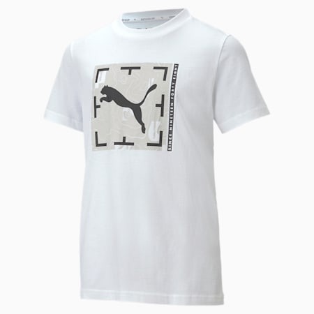 Active Sports Graphic Youth Tee, Puma White, small-SEA