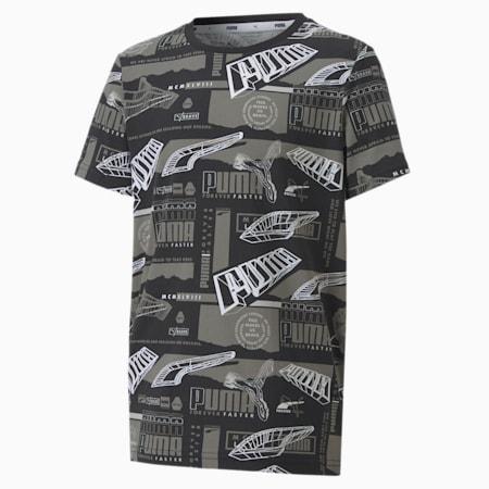 T-shirt stampata Alpha da ragazzo, Puma Black, small
