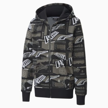 Alpha  Printed Full Zip Youth Hoodie, Puma Black, small
