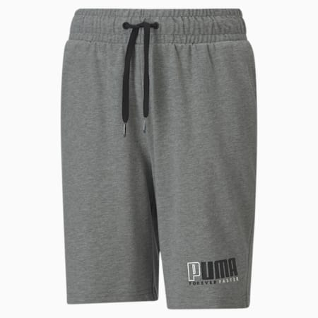Alpha Knitted Youth Jersey Shorts, Medium Gray Heather, small-SEA