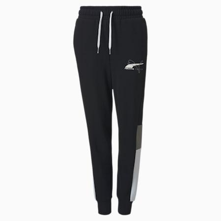 Alpha  Knitted Youth Sweatpants, Puma Black, small