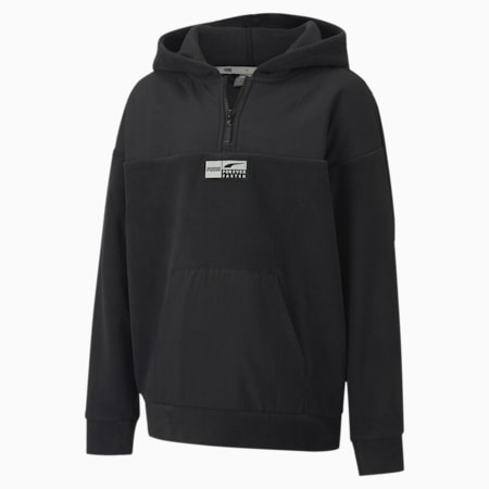 Sweatshirt à capuche Alpha Half-Zip Youth, Puma Black, small