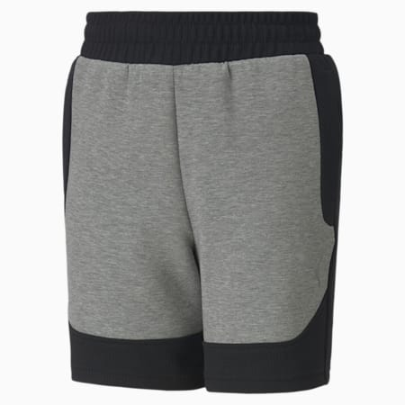 Evostripe Kid's Shorts, Medium Gray Heather, small-IND