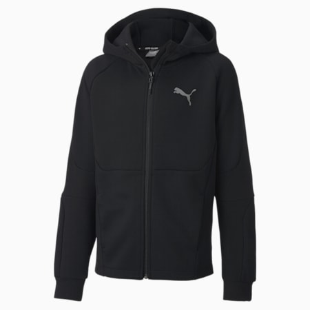 Evostripe Full Zip Boys' Hoodie, Puma Black, small